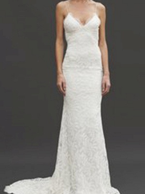 Court Train Close-fitting Spaghetti Straps Sexy Bridal Gowns | Cheap Lace Sleeveless V-neck Wedding Dresses_5