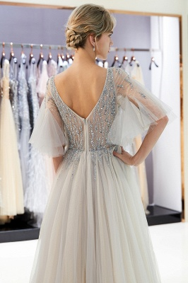 Floor Length A-line V-neck Beading Tulle Evening Gowns with Sleeves_14