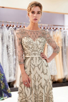 A-line Illusion Neckline Long Beading Evening Gowns with Sleeves_9