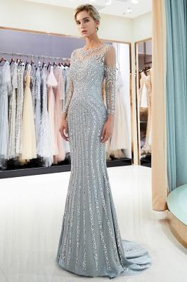 Mermaid Long Sleeves Sequined Pattern Evening Dresses_2