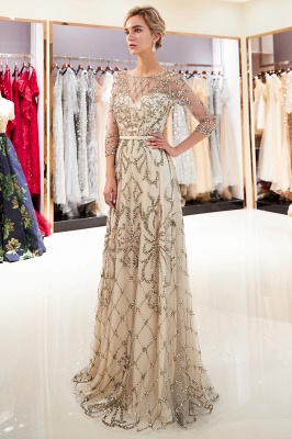 A-line Illusion Neckline Long Beading Evening Gowns with Sleeves_7