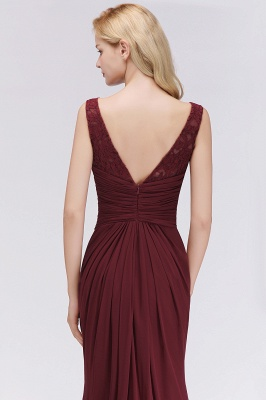 Elegant A-Line Burgundy Chiffon Lace Scoop Sleeveless Ruffles Floor-Length Bridesmaid Dresses_6