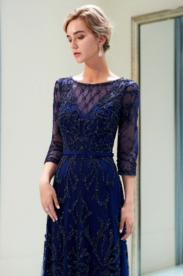 A-line Illusion Neckline Long Beading Evening Gowns with Sleeves_16