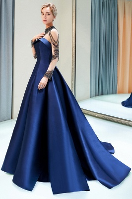 Beading Neckline A-line Long Sleeves Satin Evening Gowns_5