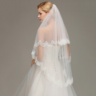 Elegant Two Layers Lace Edge Wedding Veil Appliques Long Bridal Veil_5