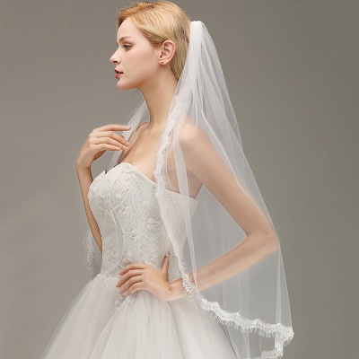 Lace Edge One Layer Wedding Veil with Comb Soft Tulle Bridal Veil_5