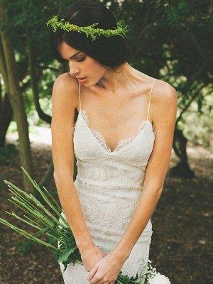 Mermaid Ruffles Lace Spaghetti Straps Bridal Gowns   Sweep Train Sleeveless Wedding Dresses Cheap_1