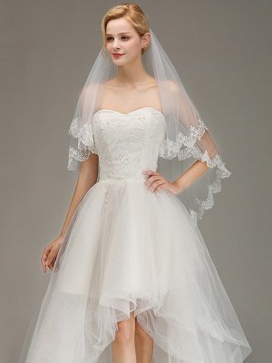 Elegant Two Layers Lace Edge Wedding Veil Appliques Long Bridal Veil_1