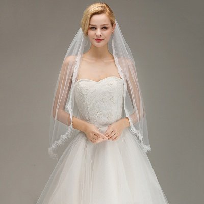 Lace Edge One Layer Wedding Veil with Comb Soft Tulle Bridal Veil_3