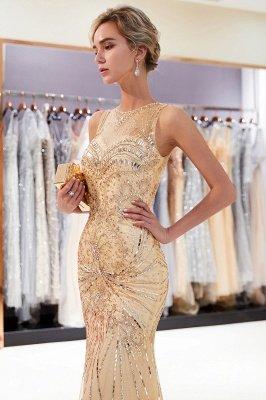 Glamorous Beading Mermaid Sleeveless Long Evening Dresses_12