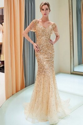 Off-the-shoulder V-neck Mermaid Floor Length Sequins Evening Dresses_14
