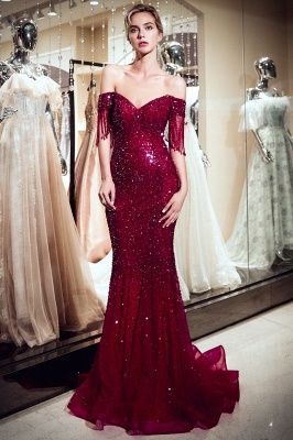 Off-the-shoulder V-neck Mermaid Floor Length Sequins Evening Dresses_5