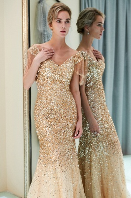 Off-the-shoulder V-neck Mermaid Floor Length Sequins Evening Dresses_16