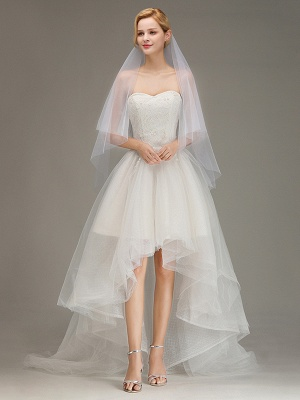 Cut Edge Two Layer Wedding Veil with Comb Simple Soft Tulle Bridal Veil