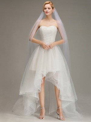 One Layer Wedding Veil with Comb  Appliqued Cathedral Length Bridal Veil