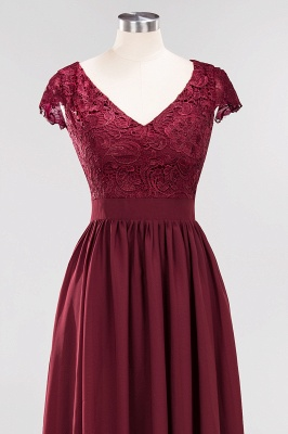 A-line Chiffon Lace V-Neck Sleeveless Floor-Length Bridesmaid Dresses with Ruffles_4