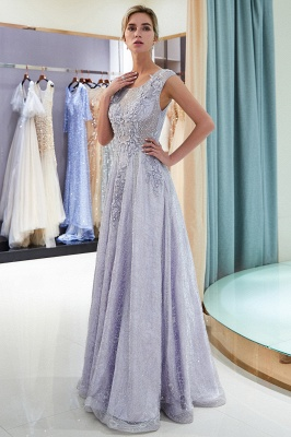 A-line Sleeveless Lace Appliques Flowers Formal Dresses_5