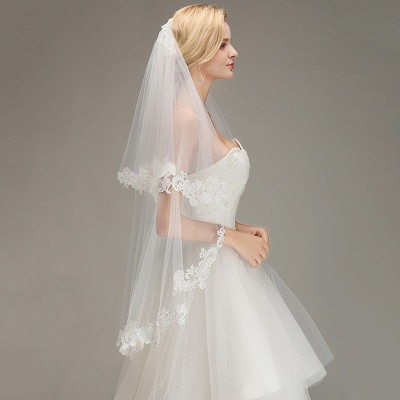 Lace Edge Wedding Veil with Comb Two Layers Tulle Bridal Veil_6