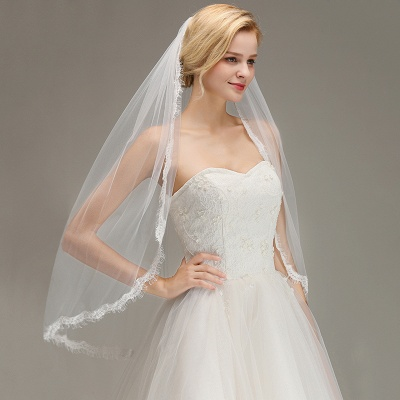Lace Edge One Layer Wedding Veil with Comb Soft Tulle Bridal Veil_4