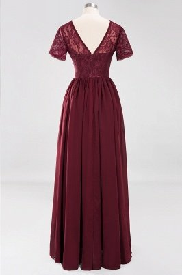 A-line Chiffon Lace Jewel Short-Sleeves Floor-length Bridesmaid Dress_41