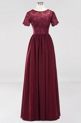 A-line Chiffon Lace Jewel Short-Sleeves Floor-length Bridesmaid Dress_40