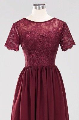 A-line Chiffon Lace Jewel Short-Sleeves Floor-length Bridesmaid Dress_43