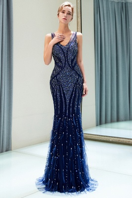 Mermaid Sleeveless V-neck Sequins Pattern Long Evening Gowns_5