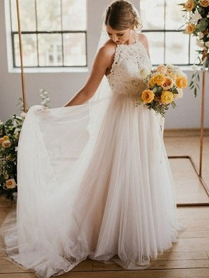 Sexy Lace Sleeveless Tulle Floor Length Bridal Gowns | Sexy Halter Wedding Dresses Cheap Online_2