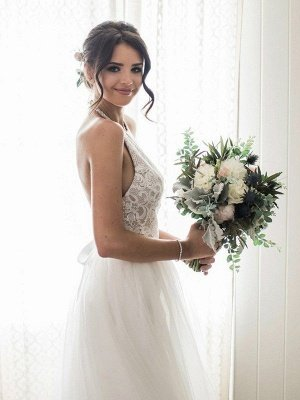 Sexy Lace Sleeveless Tulle Floor Length Bridal Gowns | Sexy Halter Wedding Dresses Cheap Online_1