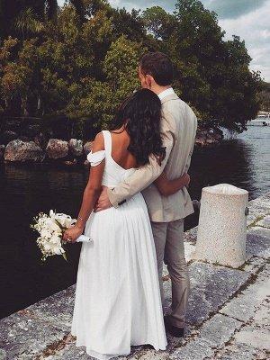 Short Sleeves Ruffles V-neck Straps Bridal Gowns | Floor Length Chiffon Sexy Wedding Dresses Cheap_3