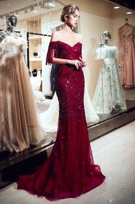 Off-the-shoulder V-neck Mermaid Floor Length Sequins Evening Dresses_6