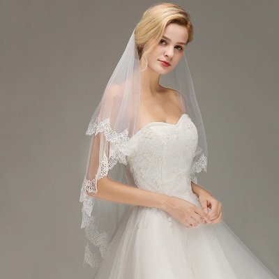 Elegant Two Layers Lace Edge Wedding Veil Appliques Long Bridal Veil_4