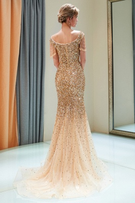 Off-the-shoulder V-neck Mermaid Floor Length Sequins Evening Dresses_12