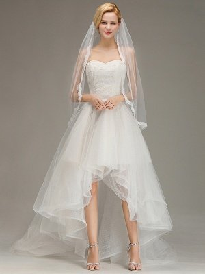 Lace Edge One Layer Wedding Veil with Comb Soft Tulle Bridal Veil