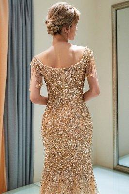 Off-the-shoulder V-neck Mermaid Floor Length Sequins Evening Dresses_13
