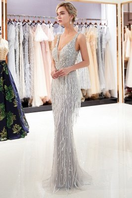 Deep V-neck Mermaid Sleeveless Tassel Beading Party Dresses