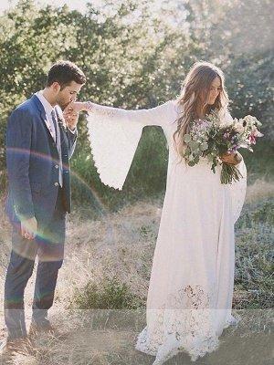 Floor Length Lace Sexy Bridal Gowns Cheap | Ribbon V-neck Chiffon Long Sleeve Wedding Dresses_5