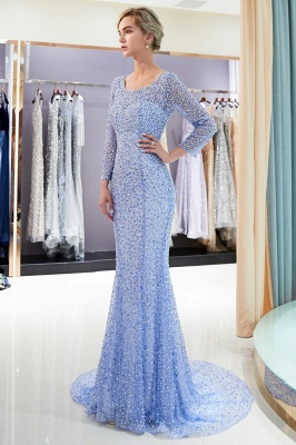 Mermaid Floor Length Long Sleeves Sequins Formal Party Dresses_1