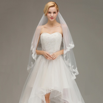 Two Layers Tulle  Appliques Comb Wedding Veil_3