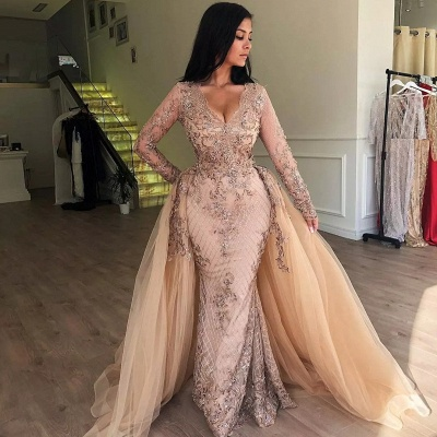 Sexy Mermaid V-neck Long Sleeves Appliqued Prom Dresses with Detachable Skirt_3