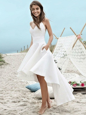 Sleeveless Sexy Asymmetrical Bridal Gowns | Cheap Satin Spaghetti Straps Ruched Wedding Dresses_1