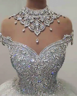Sexy High Neck Crystals Beaded Ball Gown Wedding Dresses Cheap_3