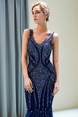 Mermaid Sleeveless V-neck Sequins Pattern Long Evening Gowns_10