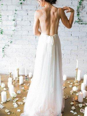 Sweep Train A-Line Sleeveless Bridal Gowns Cheap | Ruffles Chiffon Spaghetti Straps Wedding Dresses Sexy_3
