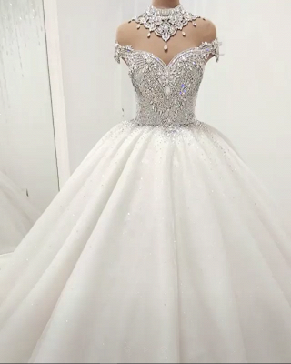 Sexy High Neck Crystals Beaded Ball Gown Wedding Dresses Cheap_1