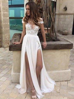 Sleeveless V-neck Lace Chiffon Sexy Bridal Gowns | Cheap Floor Length Wedding Dresses_1