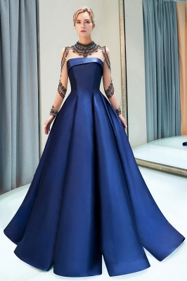 Beading Neckline A-line Long Sleeves Satin Evening Gowns_4