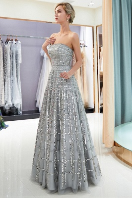 Strapless Sequined A-line Floor Length Chiffon Party Dresses