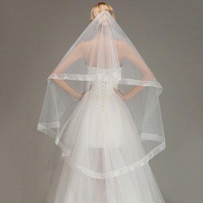 One Layer Cut Edge Wedding Veil Soft Tulle Bridal Veil_4