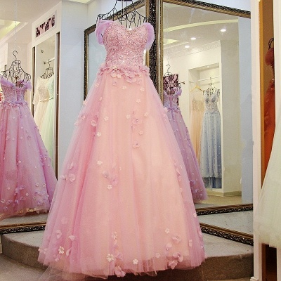 Ball Gown Tulle Off-The-Shoulder Floor-Length Applique Prom Dresses_6